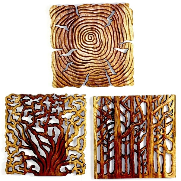 "Handmade Tree Life Wood Wall Panels (Thailand) - 18"" x 18"" x 3"". Opens flyout."