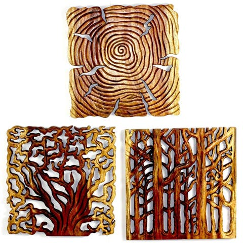 "Handmade Oak Oil Tree of Life Panel, Set of 3 - 18"" x 18"" (Thailand)"