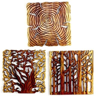 Handmade Tree Life Through 18 x 18 Antique Oak Oil Wall Panels (Thailand)
