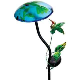 Solar Mushroom Hummingbird Design Garden Stake Light