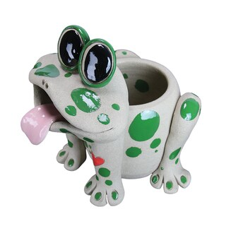 Resin 8-inch Pence Pets Frog Planter