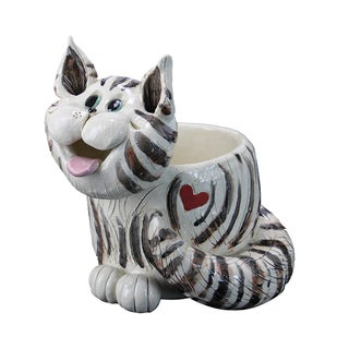 Pence Pets Multicolored Resin Cat Planter