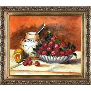 Pierre-Auguste Renoir 'Strawberries' Hand Painted Framed Canvas Art