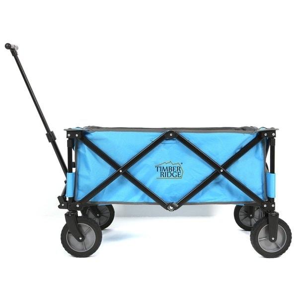 TimberRidge Blue/Black All Terrain Collapsible/Folding Camping Wagon/Garden  Cart