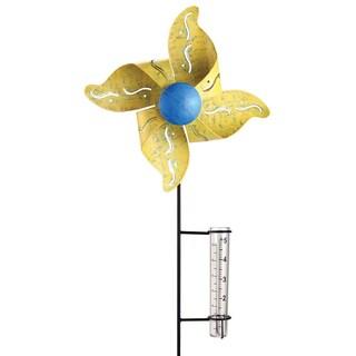 Exhart Yellow Kinetic Pinwheel with Rain Gauge
