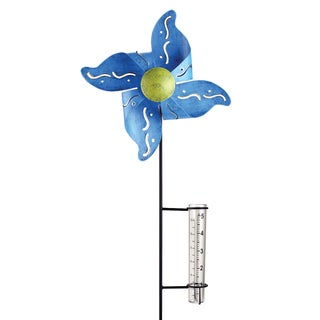 Blue Kinetic Pinwheel With Rain Gauge