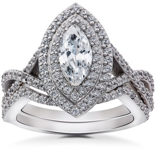 14k White Gold 2 3/8ct TDW Marquise Enhanced Diamond Engagement Double Halo Matching Wedding Ring Set (I-J, I2-I3)