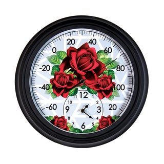 Exhart New York Botanical Gardens Rose-Themed Outdoor Clock and Thermometer