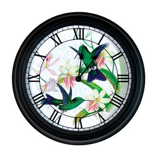Exhart New York Botanical Gardens Multicolored Glass/Metal Clock with Hummingbird Design