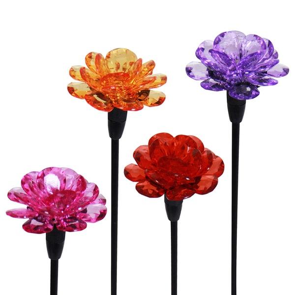 Solar Powered Flower Mini Garden Stake Pack Of 4 Free