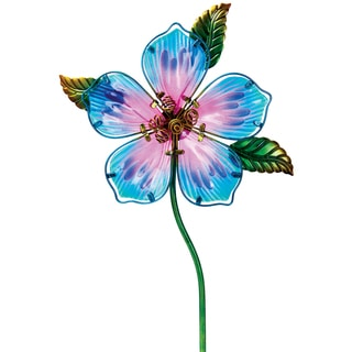 Blue Glass and Metal Flower Garden Stake