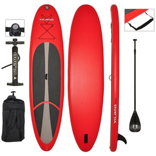 Vilano Voyager 11-feet long x 6-inches thick Inflatable SUP Stand Up Paddle Board Package