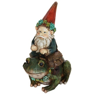 Exhart Gnome Sitting on Frog Statue