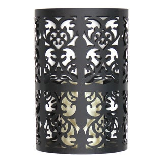Exhart Black Metal Flameless LED Candle Wall Sconce With Timer
