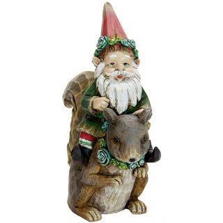 Exhart Resin Gnome Sitting on Squirrel Garden Statue