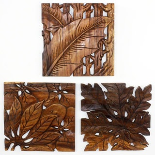 Handmade Wall Panels Autumn Leaves 18 x 18 Walnut Oil (Thailand)