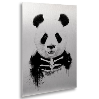Balazs Solti 'Zombie Panda' Floating Brushed Aluminum Art