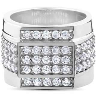 10k White Gold 2ct Men's Diamond 15mm High Polished Flashy Ring (I-J, I2-I3)