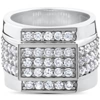 10k White Gold 2ct Men's Diamond 15mm High Polished Flashy Ring