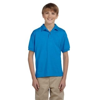 Dryblend Boys' Blue Cotton-blended Jersey Polo Shirt