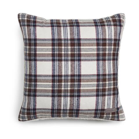 Eddie Bauer Edgewood Plaid Khaki Sherpa Decorative Pillow
