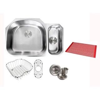 Ariel Sharp Satin 32-inch Premium 16-gauge Stainless Steel Undermount 80/20 Offset D-bowl Kitchen Sink with Full Accessories Kit