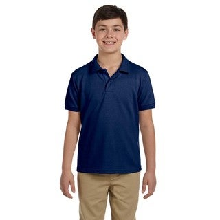 Boys' Navy Dryblend Pique Polo Shirt