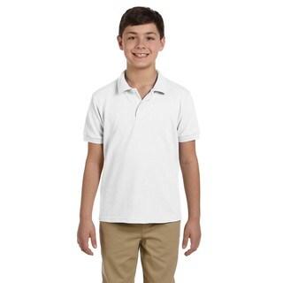 Gildan Boys' White Dryblend Pique Polo Shirt