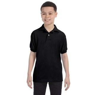 Boys' Black Cotton-blend Jersey Polo Shirt