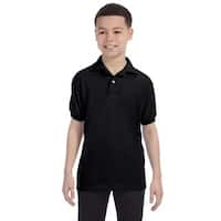 Boys' Black Cotton-blend Jersey Polo Shirt