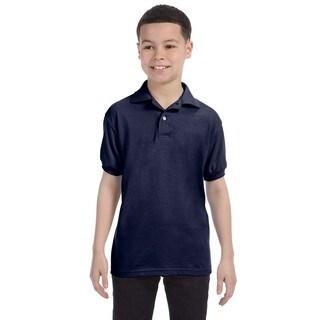 Boys Navy Blue Cotton-blend Jersey Polo Shirt