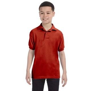 Hanes Boys' Deep Red Cotton-blend Jersey Polo Shirt