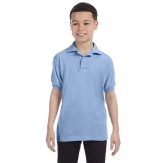 Boys' Blue Cotton-blend Jersey Polo Shirt