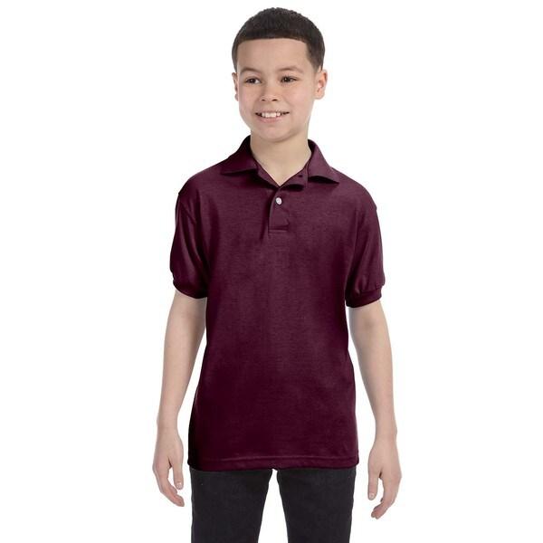 Boys' Cotton-blend Maroon Jersey Polo Shirt