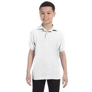 Boys' Cotton-blend White Jersey Polo Shirt