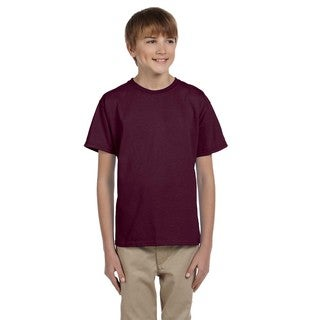 Hanes Comfortblend Boys' Maroon EcoSmart Crewneck T-shirt