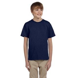 Hanes Boys' Comfortblend Ecosmart Polyester/Cotton Navy Blue Crewneck T-Shirt
