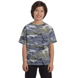 Boys' Cotton Blue Woodland Camouflage T-shirt