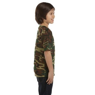 Boys' Green Woodland Cotton Camouflage T-shirt