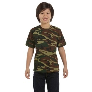 Boys' Green Woodland Cotton Camouflage T-shirt