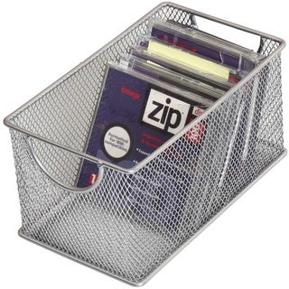 YBM Home Silver Mesh Zip Storage Box