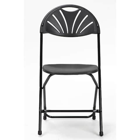 COSCO Commercial 8-pack Heavy Duty, Injection Mold Fan Back, Black Folding Chair with Comfortable Contoured Back