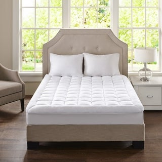 Madison Park Heavenly Soft Overfilled Plush Hypoallergenic Down Alternative Waterproof Mattress Pad - White