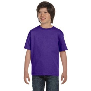 Hanes Boys' Beefy-T Purple Cotton T-shirt