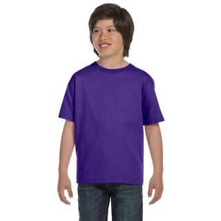 Hanes Boys' Beefy-T Purple Cotton T-shirt