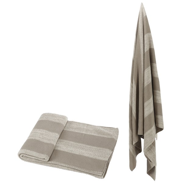 100-percent Cotton Beige Striped Throw