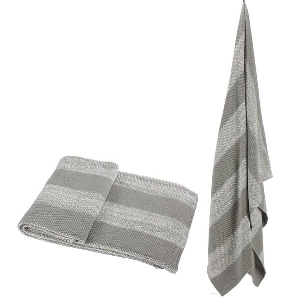 100-percent Cotton Grey Striped Throw