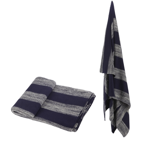 100-percent Cotton Blue Striped Throw