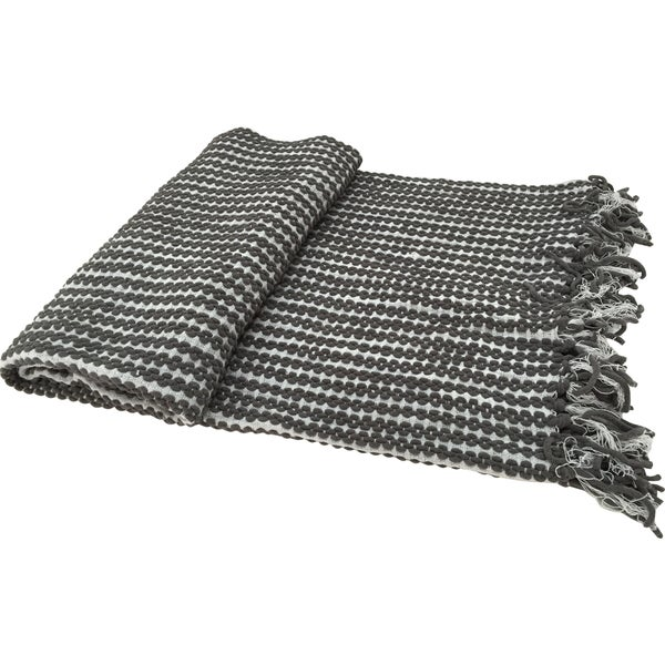 Grey Chenille Throw With Fringe