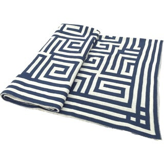 Acrylic Blue Chevron Jacquard Throw